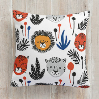 This is a black and white pillow by Oscar and Emma called Safari Cats printing on premium cotton.