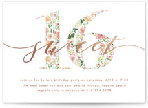 This is a colorful sweet sixteen birthday party invitation by Becky Nimoy called Floral Filled 16 with foil-pressed printing on signature in standard.
