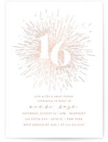 This is a brown sweet sixteen birthday party invitation by Ana Sharpe called Starburst with foil-pressed printing on signature in standard.