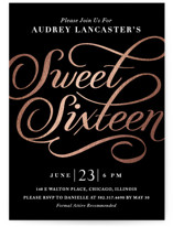 This is a black and white sweet sixteen birthday party invitation by Gina Grittner called Flourished Elegance with foil-pressed printing on signature in standard.