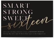 This is a black sweet sixteen birthday party invitation by Angela Marzuki called More Than Sweet with foil-pressed printing on signature in standard.
