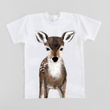 This is a white baby t shirt by Cass Loh called Baby Deer.