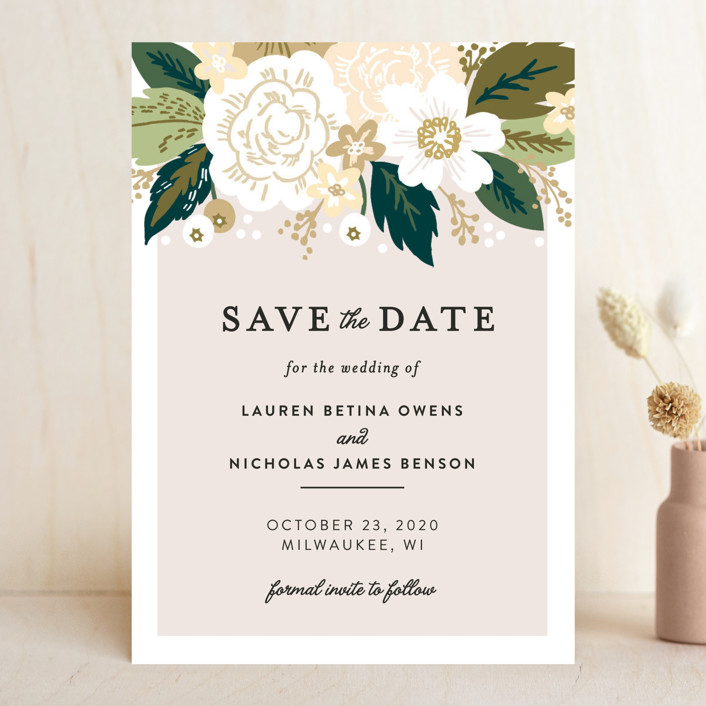 """""""Classic Floral"""" - Save The Date Cards in Cream by Alethea and Ruth."""