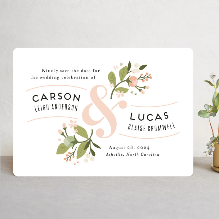 """""""Floral Ampersand"""" - Save The Date Cards in Rosebud by Jennifer Wick."""