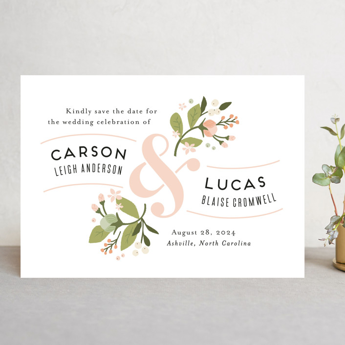 """Floral Ampersand"" - Save The Date Cards in Rosebud by Jennifer Wick."