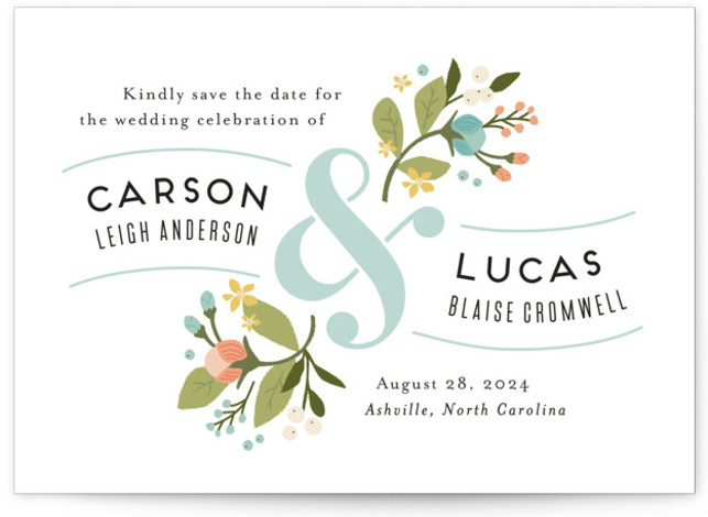 This is a landscape botanical, blue Save the Dates by Jennifer Wick called Floral Ampersand with Standard printing on Signature in Classic fold over (blank inside) format.