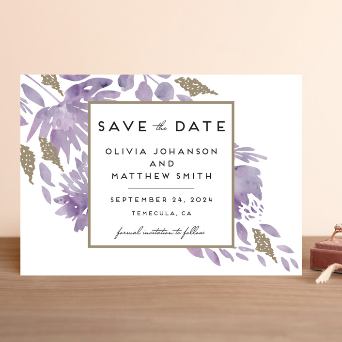 """Watercolor Delight"" - Save The Date Cards in Lavender Fields by Petra Kern."