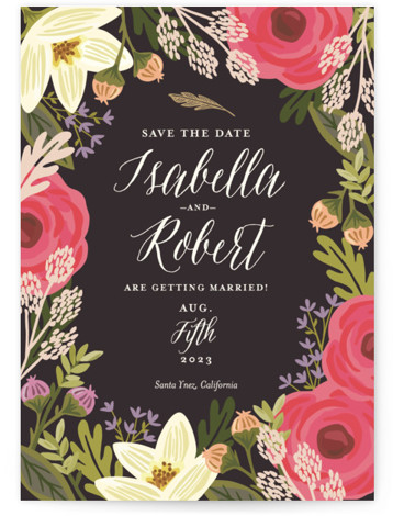 This is a portrait botanical, pink Save the Dates by Griffinbell Paper Co. called Rhapsody with Standard printing on Signature in Classic Flat Card format.
