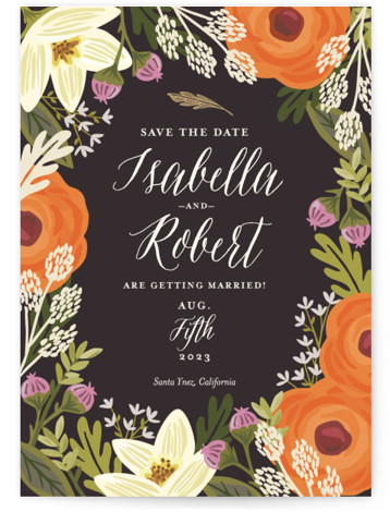 This is a portrait botanical, orange Save the Dates by Griffinbell Paper Co. called Rhapsody with Standard printing on Signature in Classic Flat Card format.