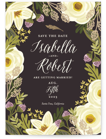 This is a portrait botanical, yellow Save the Dates by Griffinbell Paper Co. called Rhapsody with Standard printing on Signature in Classic Flat Card format.