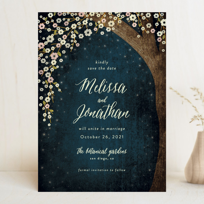 """Outside"" - Save The Date Cards in Navy by Rebecca Bowen."