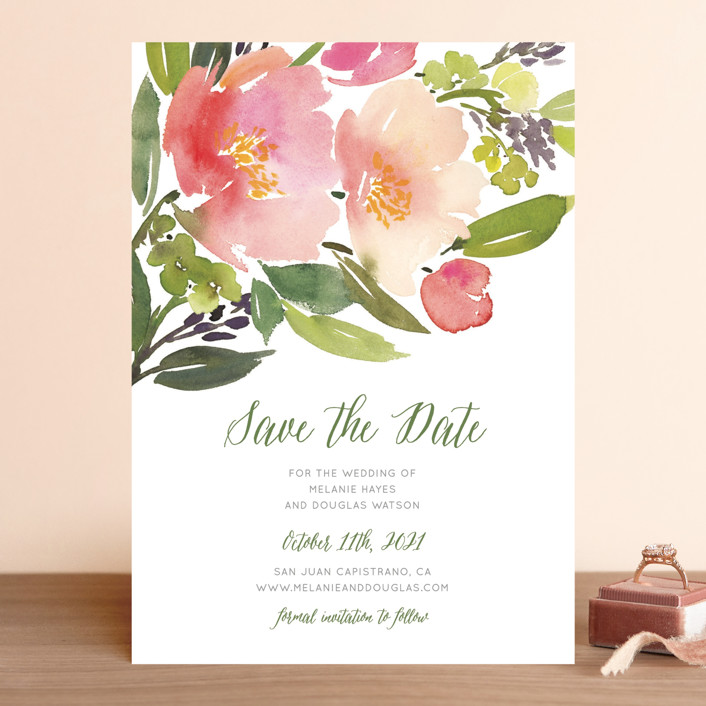 """""""Watercolor Floral"""" - Save The Date Cards in Rose by Yao Cheng Design."""