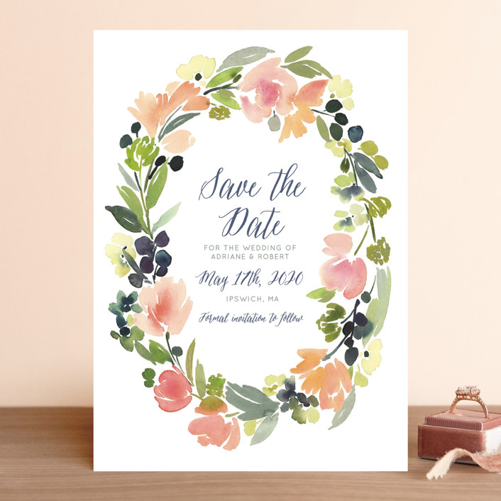"""Watercolor Wreath"" - Save The Date Cards in Grapefruit by Yao Cheng Design."