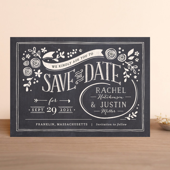 """Alabaster Florals"" - Rustic Save The Date Cards in Slate by Jennifer Wick."