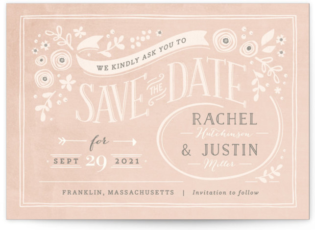 This is a landscape rustic, brown Save the Dates by Jennifer Wick called Alabaster Florals with Standard printing on Signature in Classic fold over (blank inside) format.