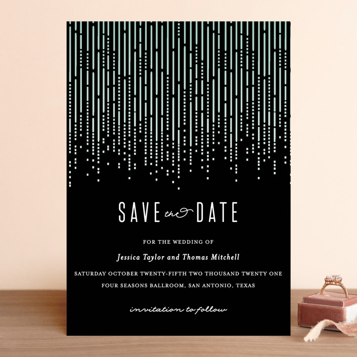 """""""Crystal Curtain"""" - Vintage Save The Date Cards in Noir by Rebecca Bowen."""
