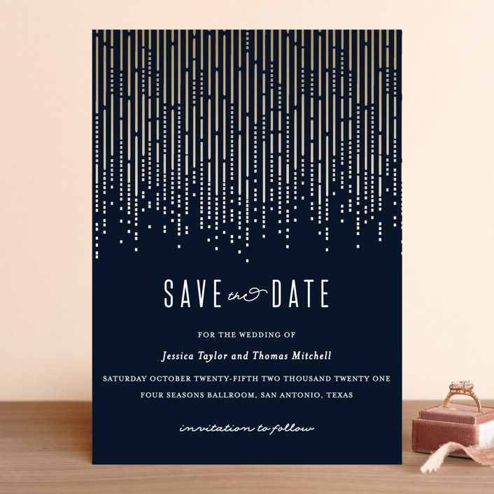 """Crystal Curtain"" - Vintage Save The Date Cards in Navy by Rebecca Bowen."