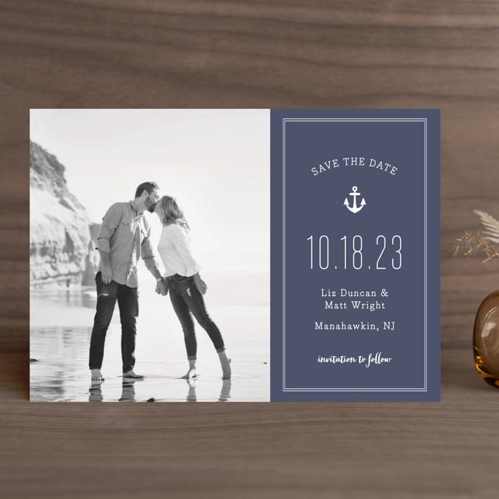 """""""Down by the Sea"""" - Modern, Beach Save The Date Cards in Marine by Sandra Picco Design."""