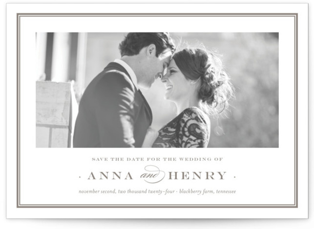 This is a landscape classic and formal, brown Save the Dates by Toast & Laurel called Field with Standard printing on Smooth Signature in Classic Flat Card format.