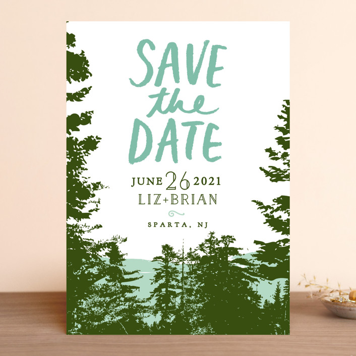 """Mountain View"" - Save The Date Cards in Pine Green by Ariel Rutland."