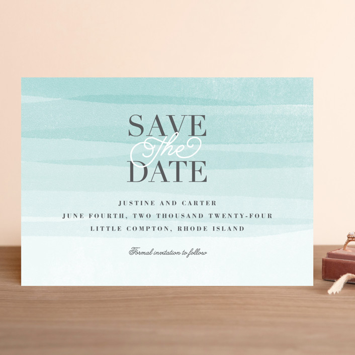 """Old Post Road"" - Save The Date Cards in Sea Salt by Jennifer Wick."