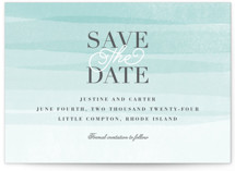 This is a green save the date by Jennifer Wick called Old Post Road with standard printing on signature in standard.