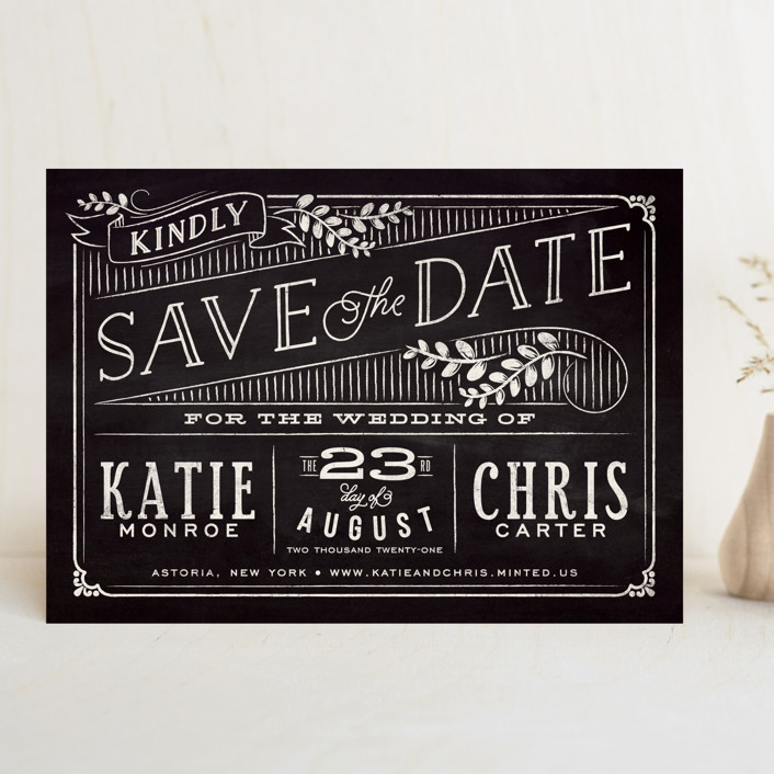 """Slated Forever"" - Rustic Save The Date Cards in Chalkboard by GeekInk Design."