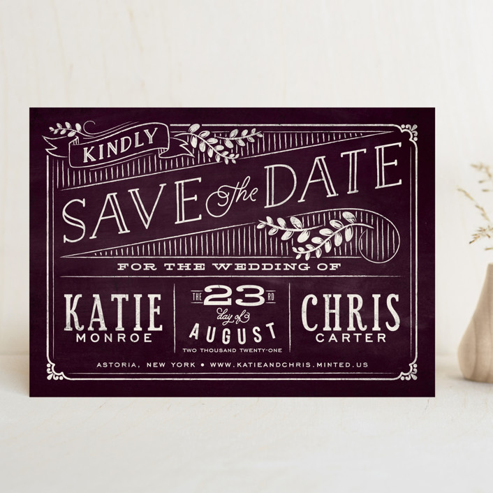 """Slated Forever"" - Rustic Save The Date Cards in Plum by GeekInk Design."