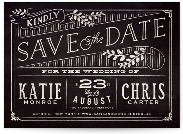 This is a landscape rustic, black Save the Dates by GeekInk Design called Slated Forever with Standard printing on Signature in Classic Flat Card format.
