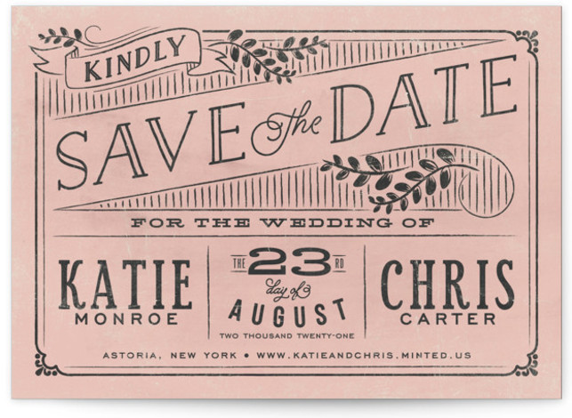 This is a landscape rustic, pink Save the Dates by GeekInk Design called Slated Forever with Standard printing on Signature in Classic Flat Card format.