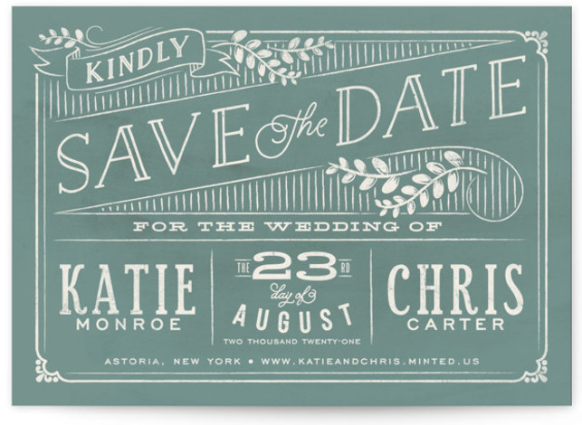 This is a landscape rustic, green Save the Dates by GeekInk Design called Slated Forever with Standard printing on Signature in Classic Flat Card format.