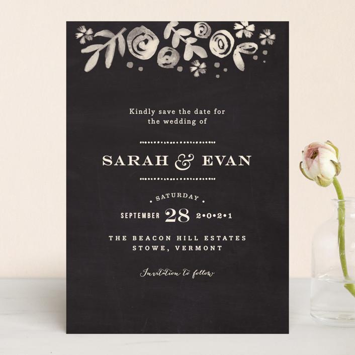 """Sun Bleached Florals"" - Save The Date Cards in Blackboard by Jennifer Wick."