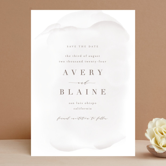"""Awash"" - Save The Date Cards in Fog by Leah Bisch."