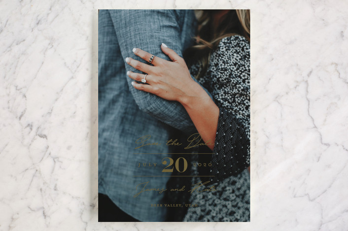 """In Love"" - Save The Date Cards in Pearl by Eric Clegg."