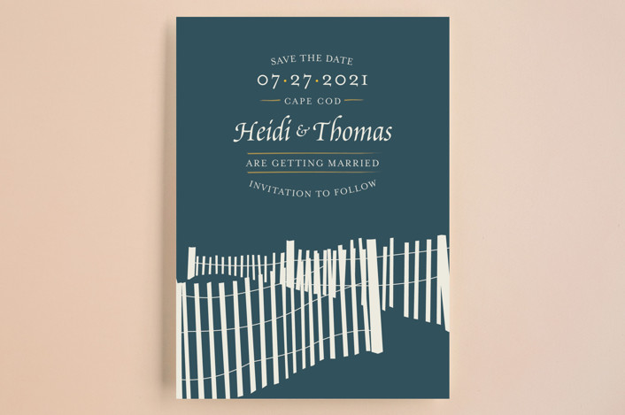 """Beachside"" - Bold typographic, Beach Save The Date Cards in Navy by 24th and Dune."