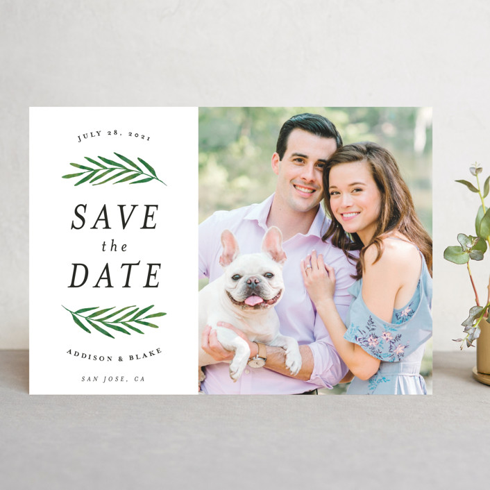 """Framed in Foliage"" - Save The Date Cards in Fresh by Kelly Schmidt."