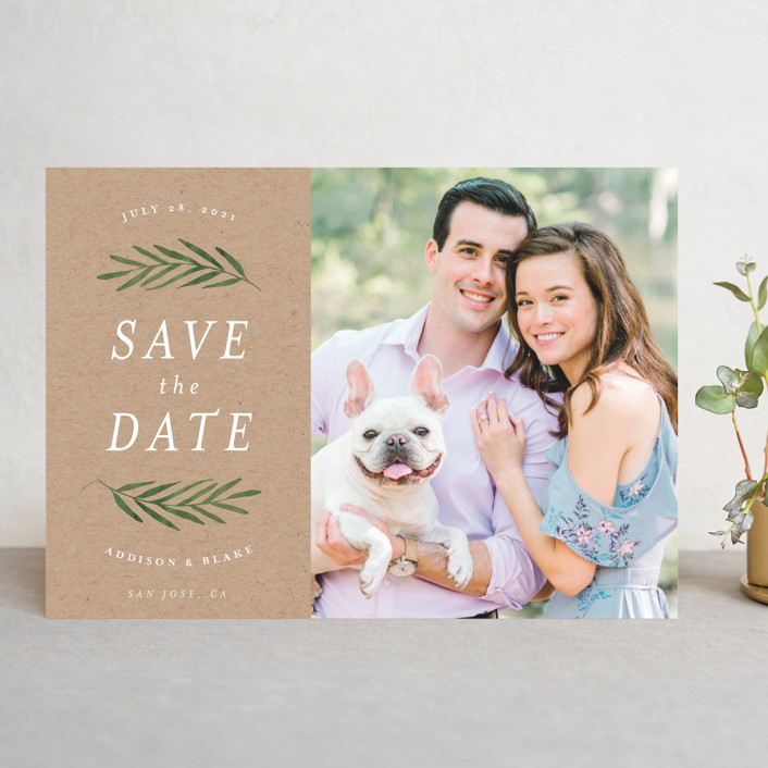 """""""Framed in Foliage"""" - Save The Date Cards in Fresh by Kelly Schmidt."""
