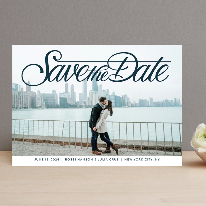 """""""Lettering Crossbar"""" - Save The Date Cards in Midnight by Jill Means."""