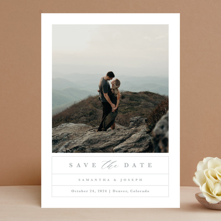 """""""Simple Grid"""" - Save The Date Cards in Fog by Kristen Smith."""