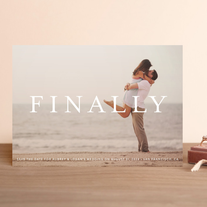"""""""Its Finally Time"""" - Save The Date Cards in Vanilla by Liz Conley."""