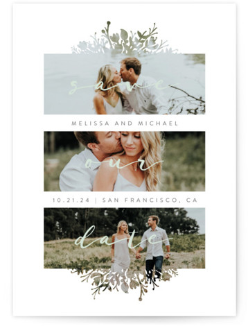 This is a portrait botanical, floral, green Save the Dates by JeAnna Casper called Whispers with Standard printing on Signature in Classic Flat Card format. A simple design with unique frames to let the photos shine through.