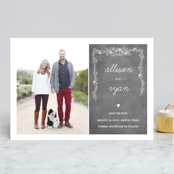 """""""Chalkboard"""" - Rustic Save The Date Cards in Charcoal by SimpleTe Design."""