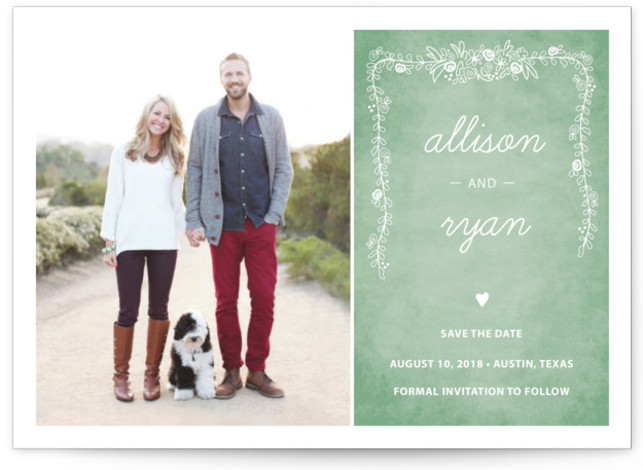 This is a landscape floral, rustic, green Save the Dates by SimpleTe Design called Chalkboard with Standard printing on Smooth Signature in Classic Flat Card format.