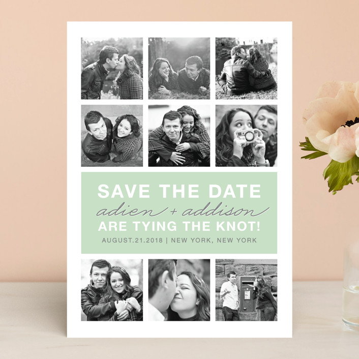 """""""Photo Gallery"""" - Modern Save The Date Cards in Sage by The Social Type."""
