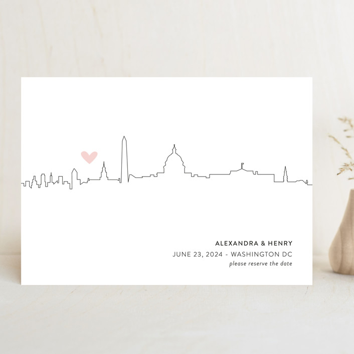 """""""Love in the City - Washington DC"""" - Save The Date Cards in Petal by Erin Deegan."""