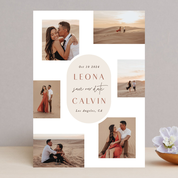 """""""Sixpence"""" - Modern Save The Date Cards in Sand by Hooray Creative."""