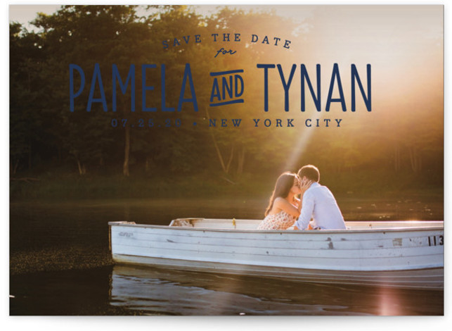 This is a landscape bohemian, blue Save the Dates by carly reed walker called Perfect Together with Standard printing on Smooth Signature in Classic Flat Card format. A classic, timeless design highlighting your names and photo