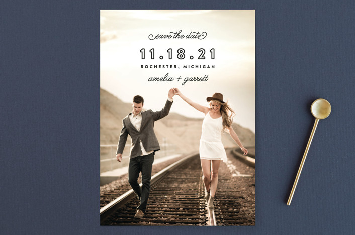 """Simple Bliss"" - Modern Save The Date Cards in Onyx by Genna Cowsert."