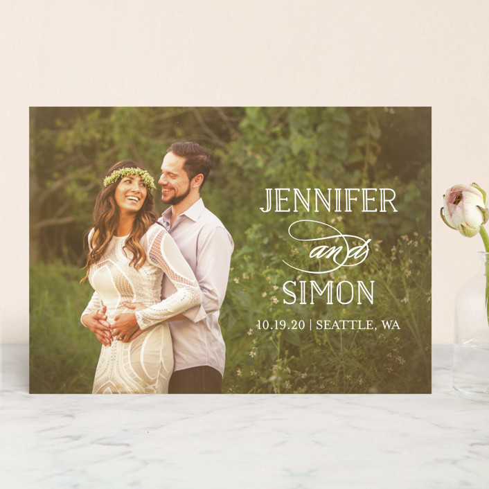 """""""Sunshine Of Your Love"""" - Save The Date Cards in Pearl by Little Words Design."""