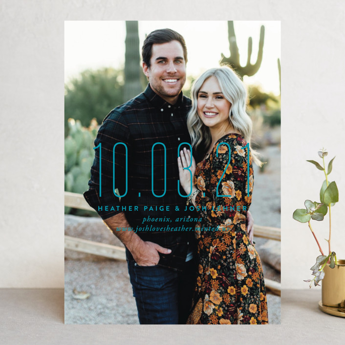 """""""The Date Is Set"""" - Modern Save The Date Cards in Cotton by Oscar & Emma."""
